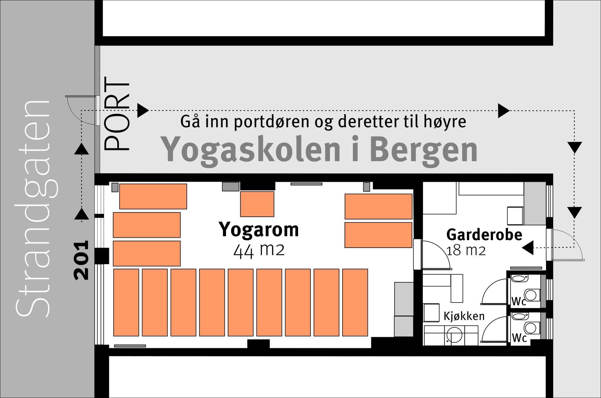 Plantegning av Yogaskolens lokaler i Strandgaten 201